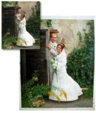 Hochzeitsfoto wird zu Gemälde, hangemalt in Öl auf Leinwand
