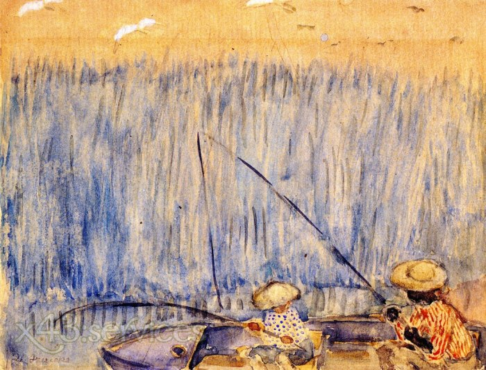 Frederick Carl Frieseke - Angeln im Sumpf - Fishing in the Swamp