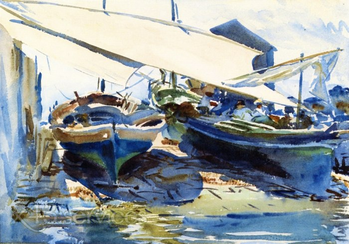 John Singer Sargent - Aufgedockte Boote - Boats Deawn Up