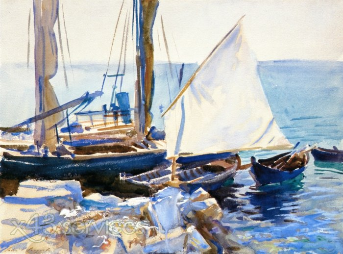 John Singer Sargent - Boote am Gardasee - Boats on Lake Garda