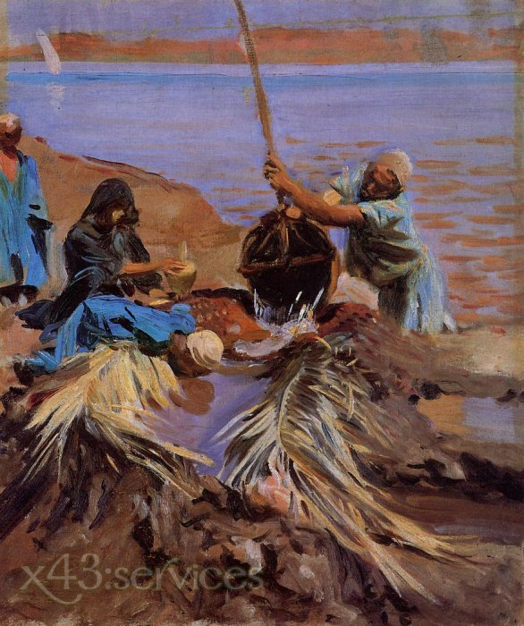 John Singer Sargent - Aegypter heben Wasser aus dem Nil - Egyptians Raising Water from the Nile