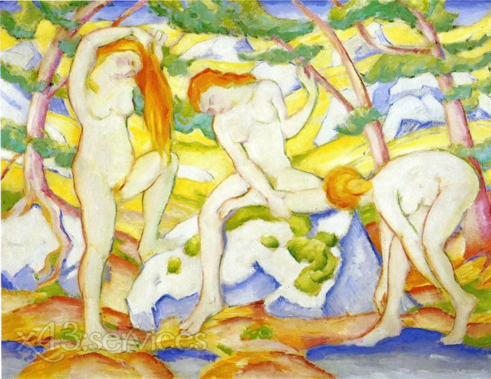 Franz Marc - Badende Maedchen - Bathing Girls