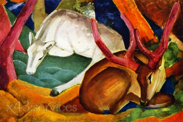 Franz Marc - Hirsche im Wald - Stags in the Woods