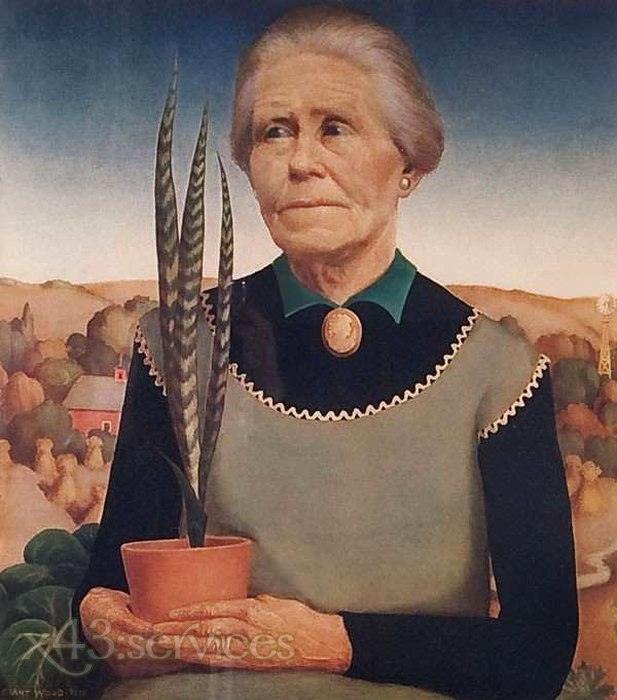 Grant Wood - Frau mit Pflanze - Woman with Plant