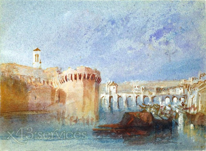 William Turner - Angers die Mauern der Doutre mit dem Kirchturm von La Trinite - Angers The Walls of Doutre with the Tower of th