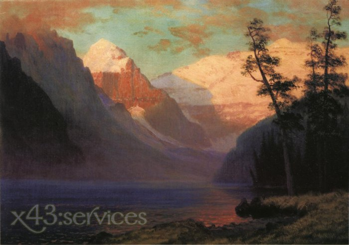 Albert Bierstadt - Abendrot See Louise - Evening Glow Lake Louise