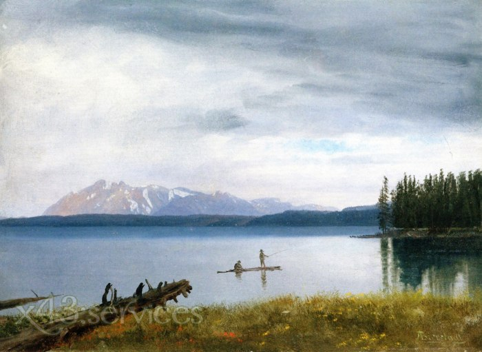 Albert Bierstadt - Angeln in Yellowstone See - Fishing in Yellowstone Lake