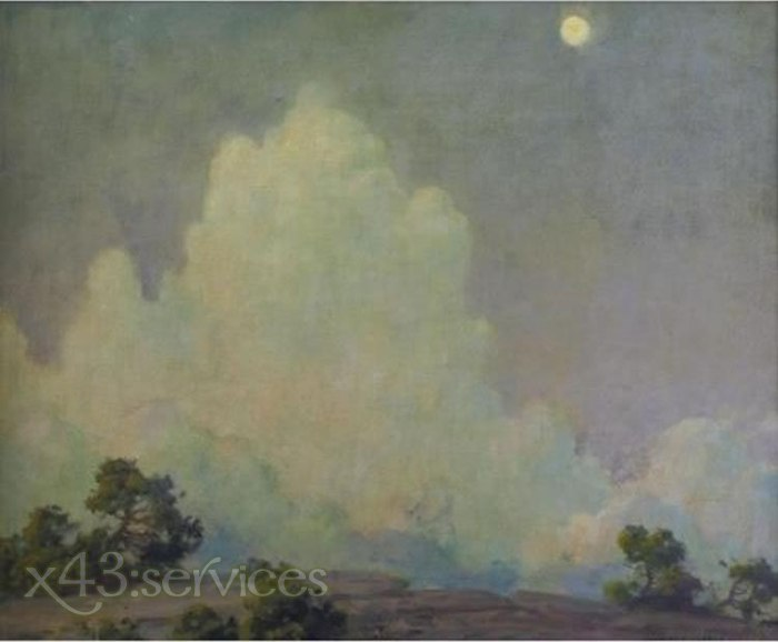 Charles Courtney Curran - Abendwolke und steigender Mond - Evening Cloud and Rising Moon
