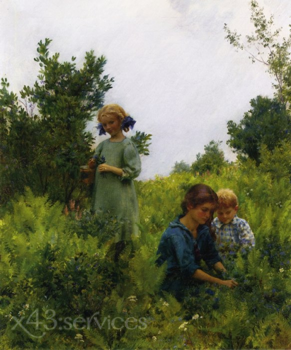 Charles Courtney Curran - Blaubeeren und Farnen - Blueberries and Ferns