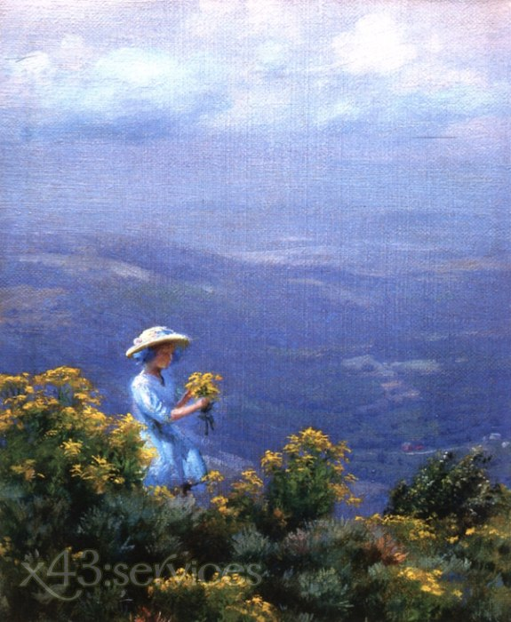 Charles Courtney Curran - Blaue Huegeln und Goldrute - Blue Hills and Goldenrod