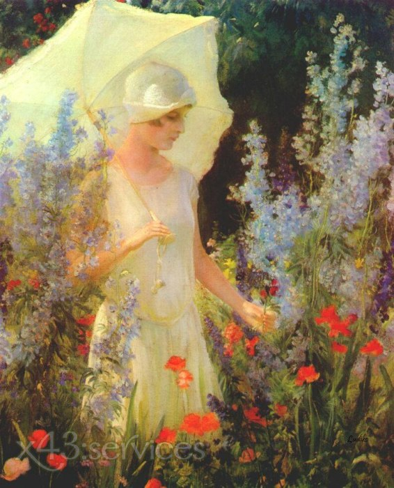 Charles Courtney Curran - Blauer Rittersporn - Blue Delphiniums