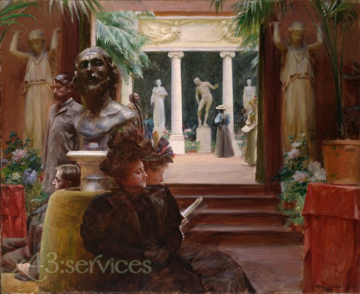 Charles Courtney Curran - An der Skulpturenausstellung - At the Sculpture Exhibition