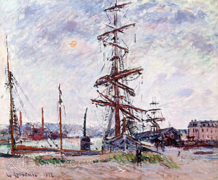 Gustave Loiseau - Boote am Dock in Le Havre - Boats at Dock in Le Havre