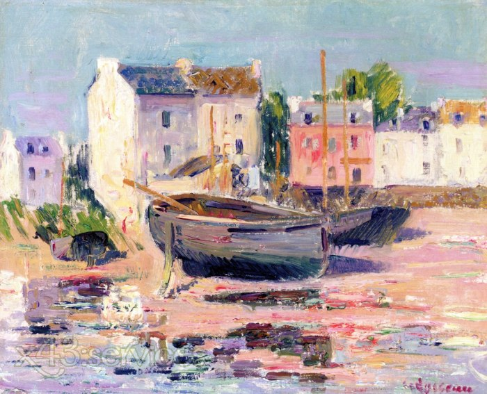 Gustave Loiseau - Boote gestrandet im Hafen - Boats Beached in Port