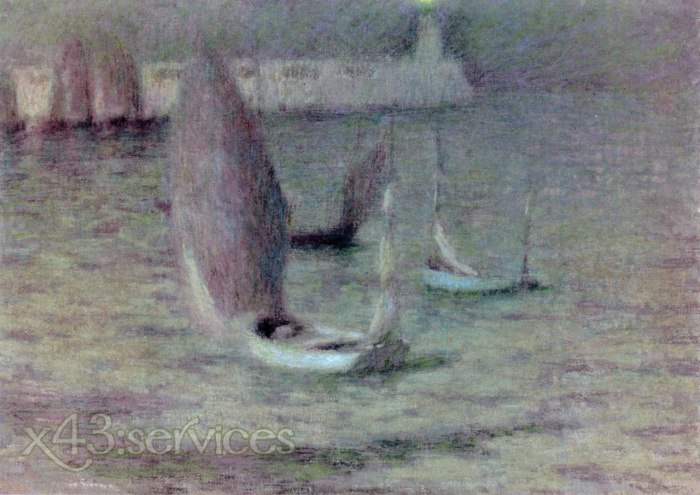 Henri Le Sidaner - Boote im Mondschein Treport - Boats in the Moonlight le Treport