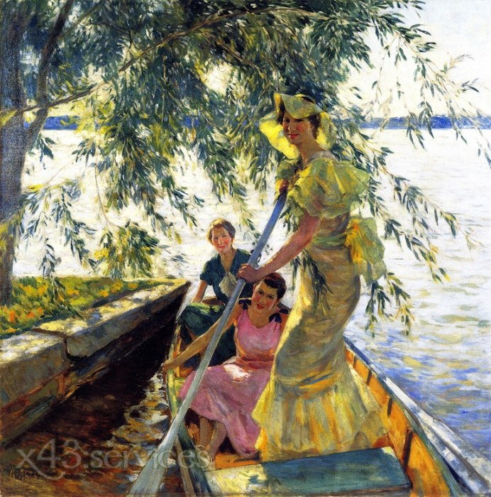 Mathias J Alten - Drei Frauen in einem Ruderboot - Three Women in a Rowboat