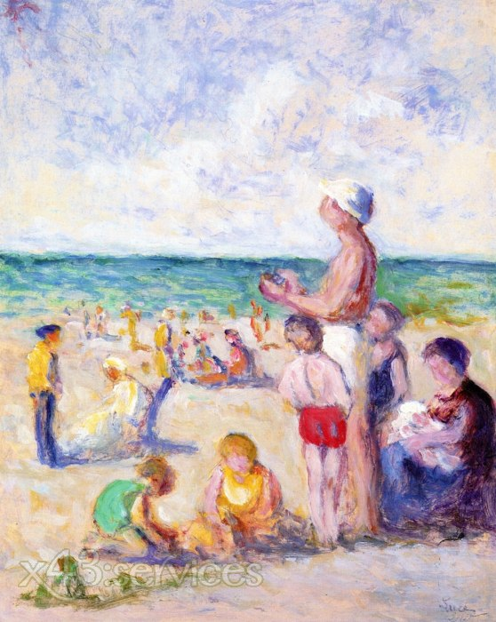 Maximilien Luce - Auf dem Strand in der Normandie - On the Beach in Normandy