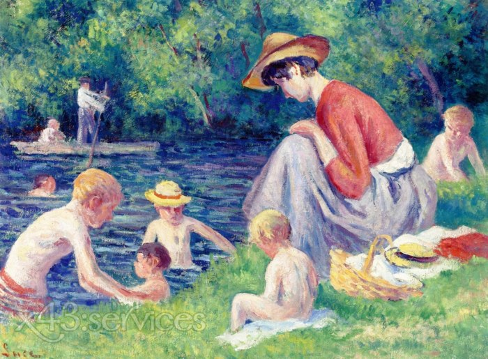 Maximilien Luce - Baden in der Cure - Bathing in the Cure 1