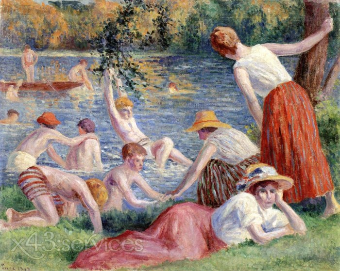 Maximilien Luce - Baden in der Cure - Bathing in the Cure
