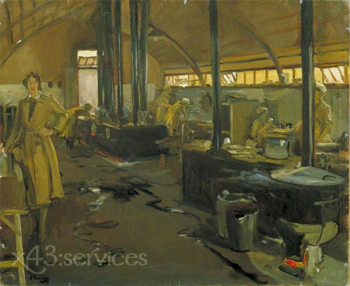 Sir John Lavery - Armee der Koenigin Mary Hilfskorps Kantinenbau Rouxmesnil - Queen Mary s Army Auxiliary Corps Cookhouse Rouxme