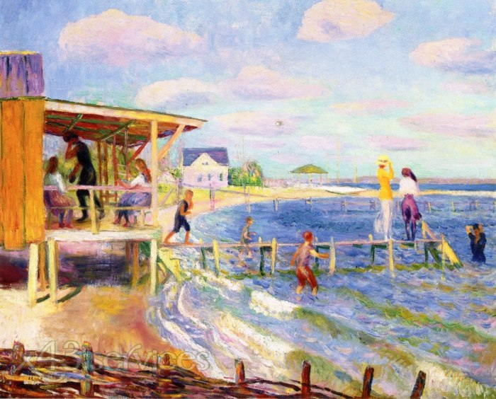 William James Glackens - Badehaus Bellport - Bath House Bellport