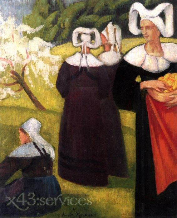 Emile Bernard - Apfelpfluecker in Pont Aven - Apple Pickers at Pont Aven