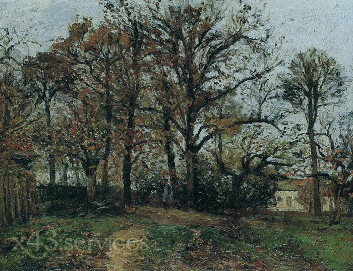 Camille Pissarro - Baeume auf einem Huegel Herbst Landschaft in Louveciennes - Trees on a Hill Autumn Landscape in Louveciennes