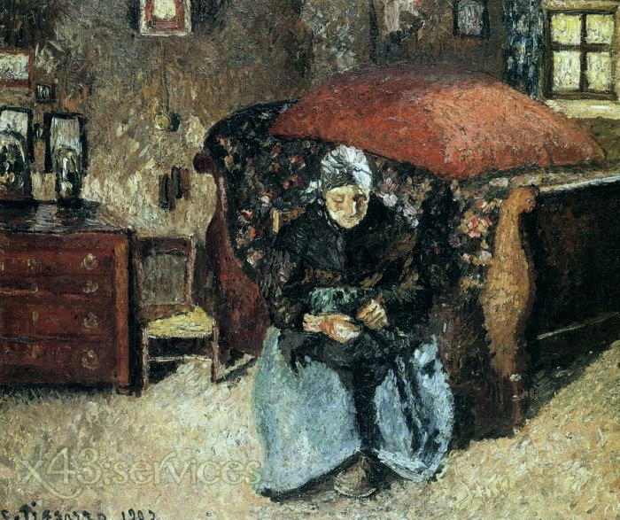Camille Pissarro - Aeltere Frau flickend alte Kleider Moret - Elderly Woman Mending Old Clothes Moret