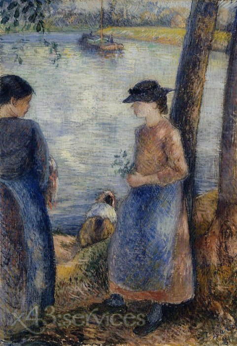 Camille Pissarro - Am Wasser - By the Water