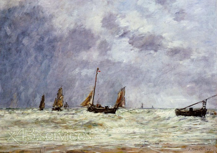 Eugene Bodin - Berck die Abfahrt der Boote - Berck the Departure of the Boats