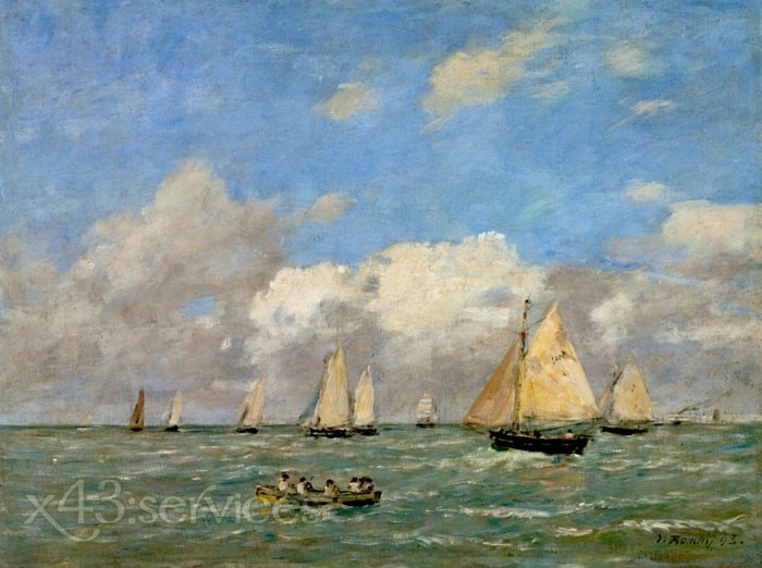 Eugene Bodin - Die Abfahrt der Boote bei Trouville - The Departure of the Boats at Trouville
