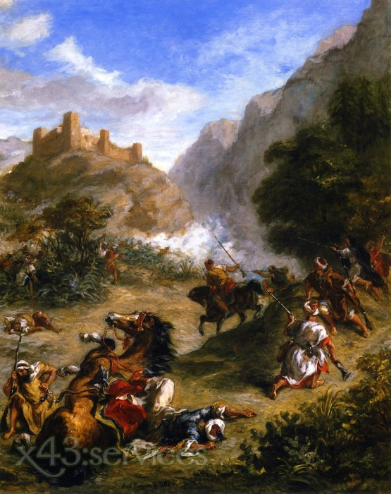Eugene Delacroix - Araber plaenkelnd in den Bergen - Arabs Skirmishing in the Mountains