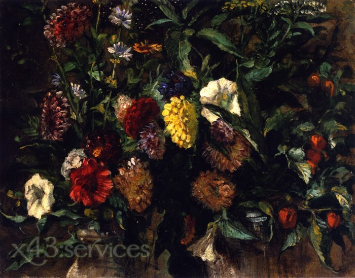 Eugene Delacroix - Blumenstrauss in einer Vase - Bouquet of Flowers in a Vase