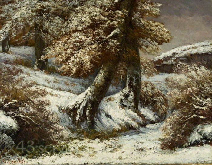 Gustave Courbet - Baeume im Schnee - Trees in the Snow