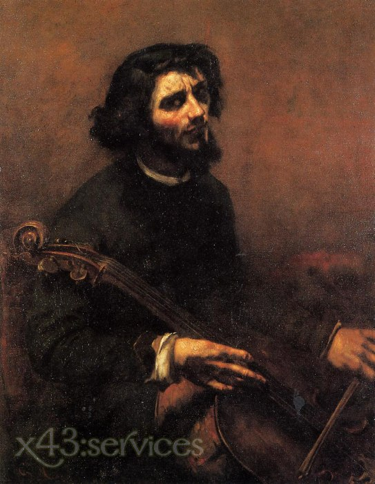 Gustave Courbet - Der Cellist Selbstportrait - The Cellist Self Portrait