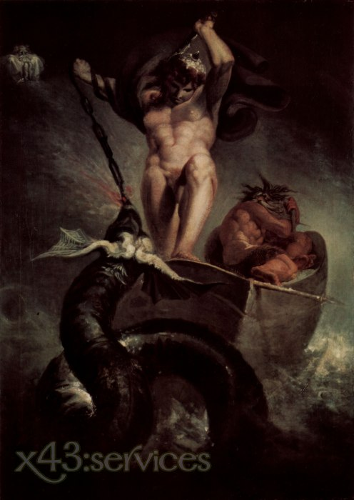 Johann Heinrich Fuessli - Der Kampf des Thor mit der Schlange des Midgard - The fight of Thor with the snake of Midgard
