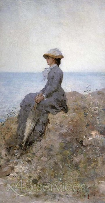 Nicolae Jon Grigorescu - An der Meereskueste - On the sea shore