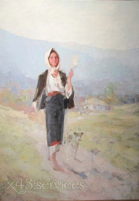 Nicolae Jon Grigorescu - Baeuerin mit einer Spindel - Peasant woman with a spindle