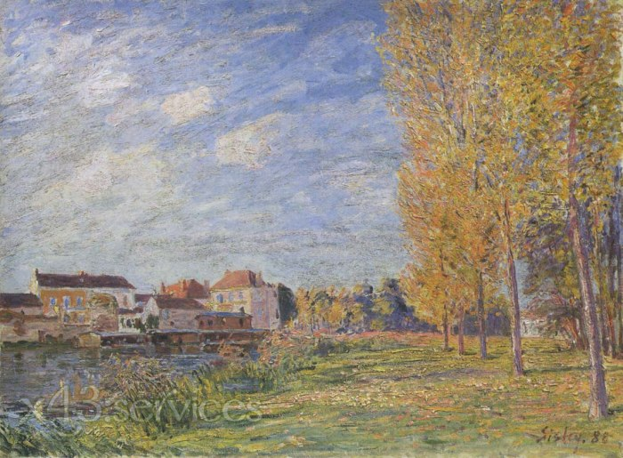 Alfred Arthur Sisley - Altweibersommer bei Moret Sonntagnachmittag - Indian Summer at Moret Sunday Afternoon