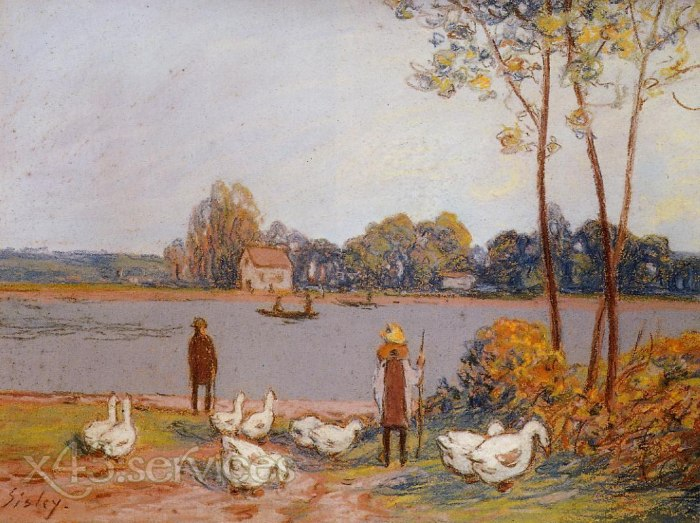 Alfred Arthur Sisley - Am Fluss Loing - By the River Loing