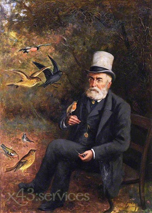 Robert Gemmell Hutchison - Alter Mann fuetternd Voegel - Old Man Feeding Birds