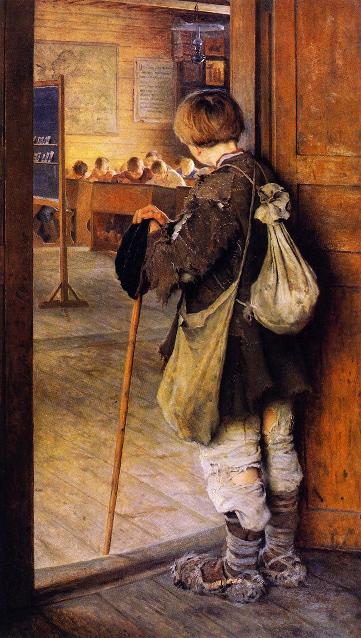 Nikolay Bogdanov-Belsky - Am Schultor - At the School Door