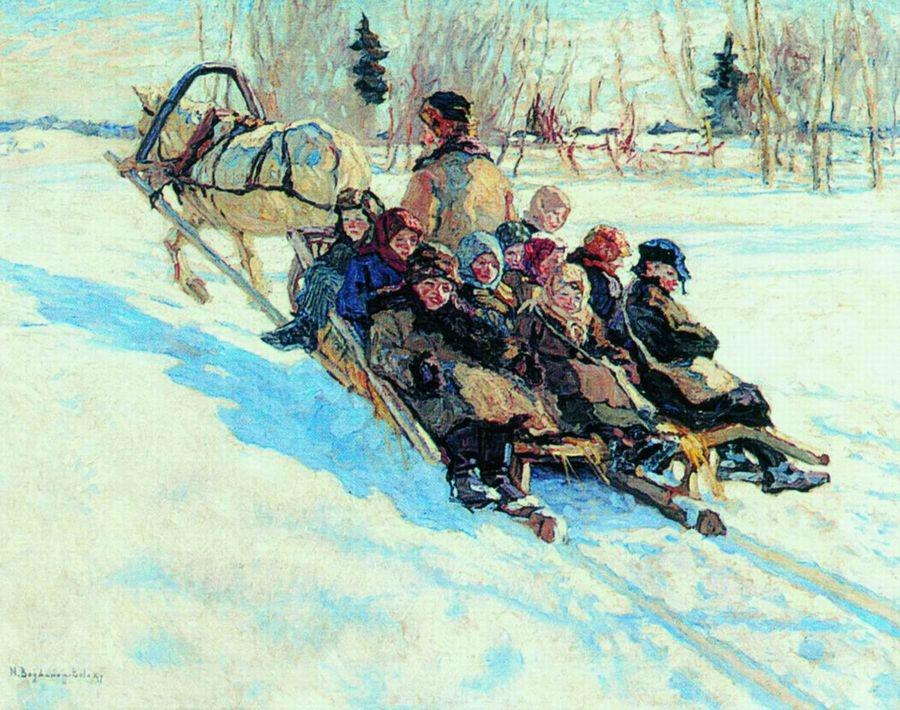 Nikolay Bogdanov-Belsky - Auf dem Weg zur Schule - On the Way to School