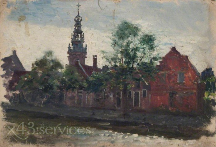 Sir George Clausen - Ansicht von Rotziegel-Architektur mit Minarett - View of Red-Brick Architecture with Minaret