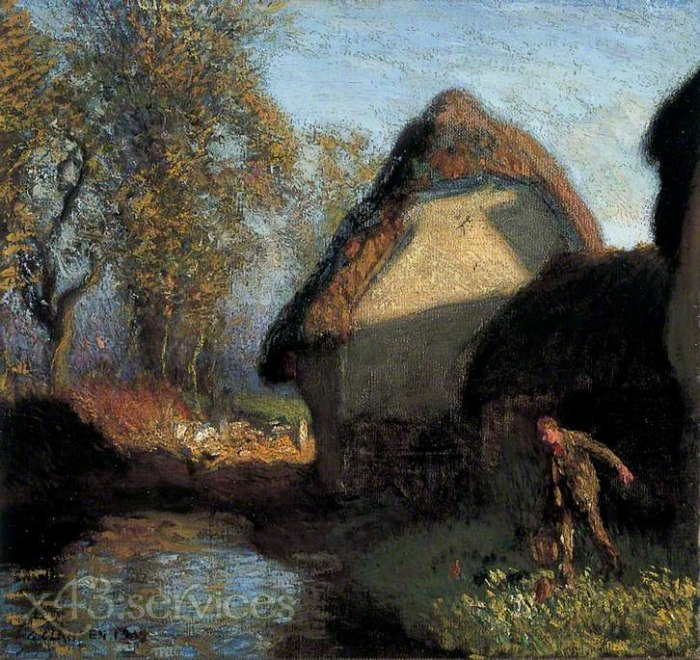 Sir George Clausen - Auf der Rueckseite der Scheune - At the Back of the Barn