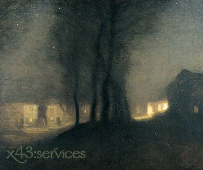 Sir George Clausen - Das Dorf bei Nacht - The Village at Night