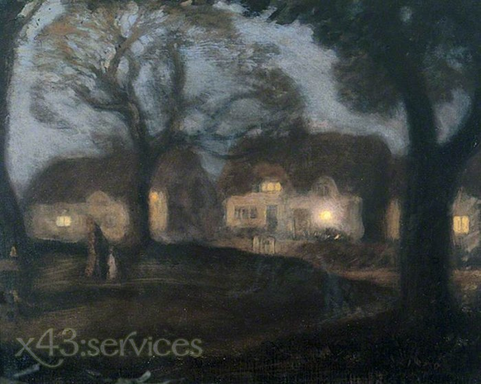 Sir George Clausen - Das Dorf-Gruen nachts - The Village Green at Night