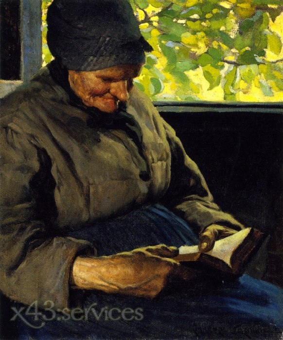Clarence Gagnon - Alte Frau lesend - Old Woman Reading