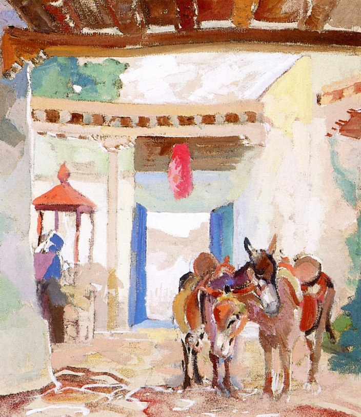 Albert Henry Krehbiel - Esel in Hof - Burros in Courtyard