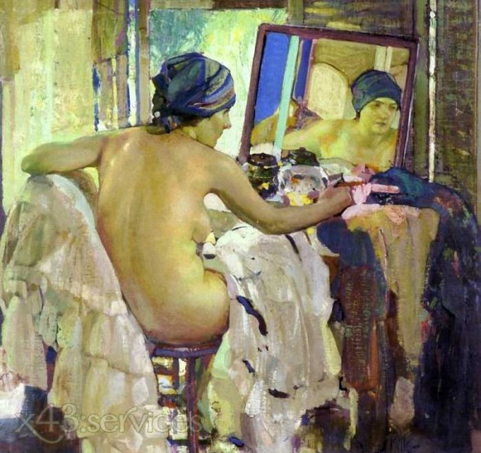 Richard Edward Miller - Betrachtungen am Schminktisch - Reflections at The Dressing Table